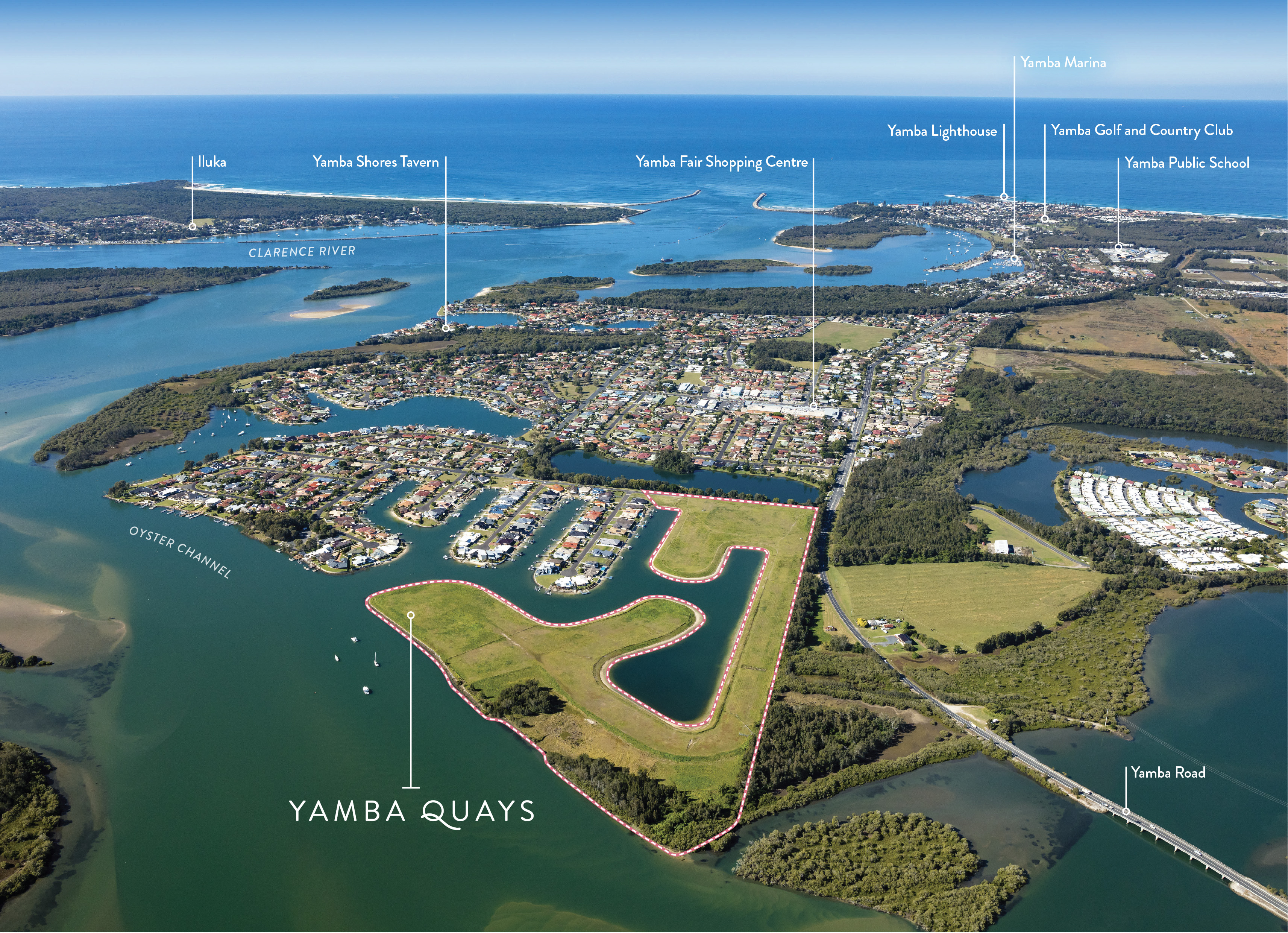 Yamba Quays marked location aerial